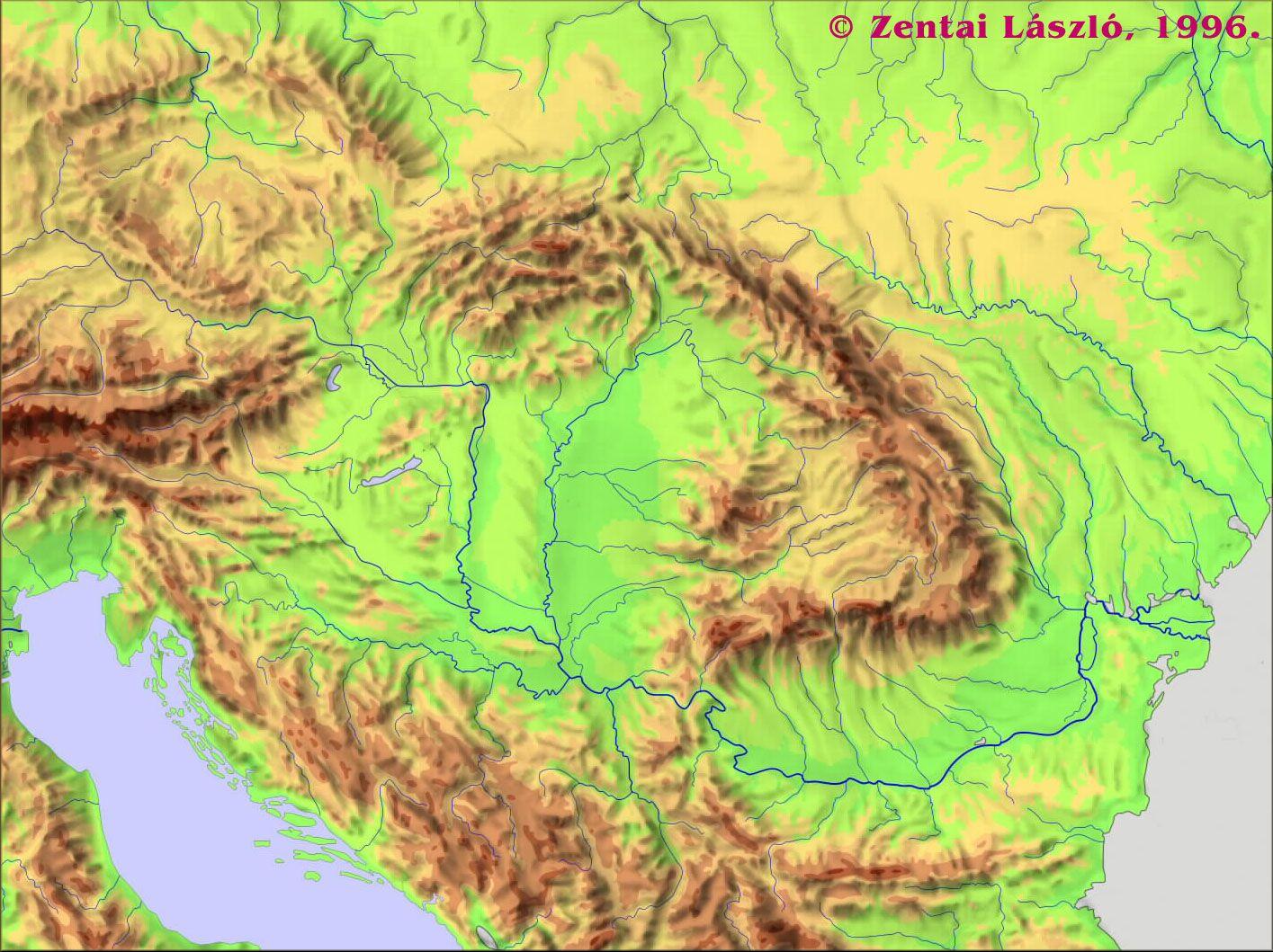 online domborzati térkép A Kárpát medence és környékének domborzata [Digitális Képarchívum  online domborzati térkép