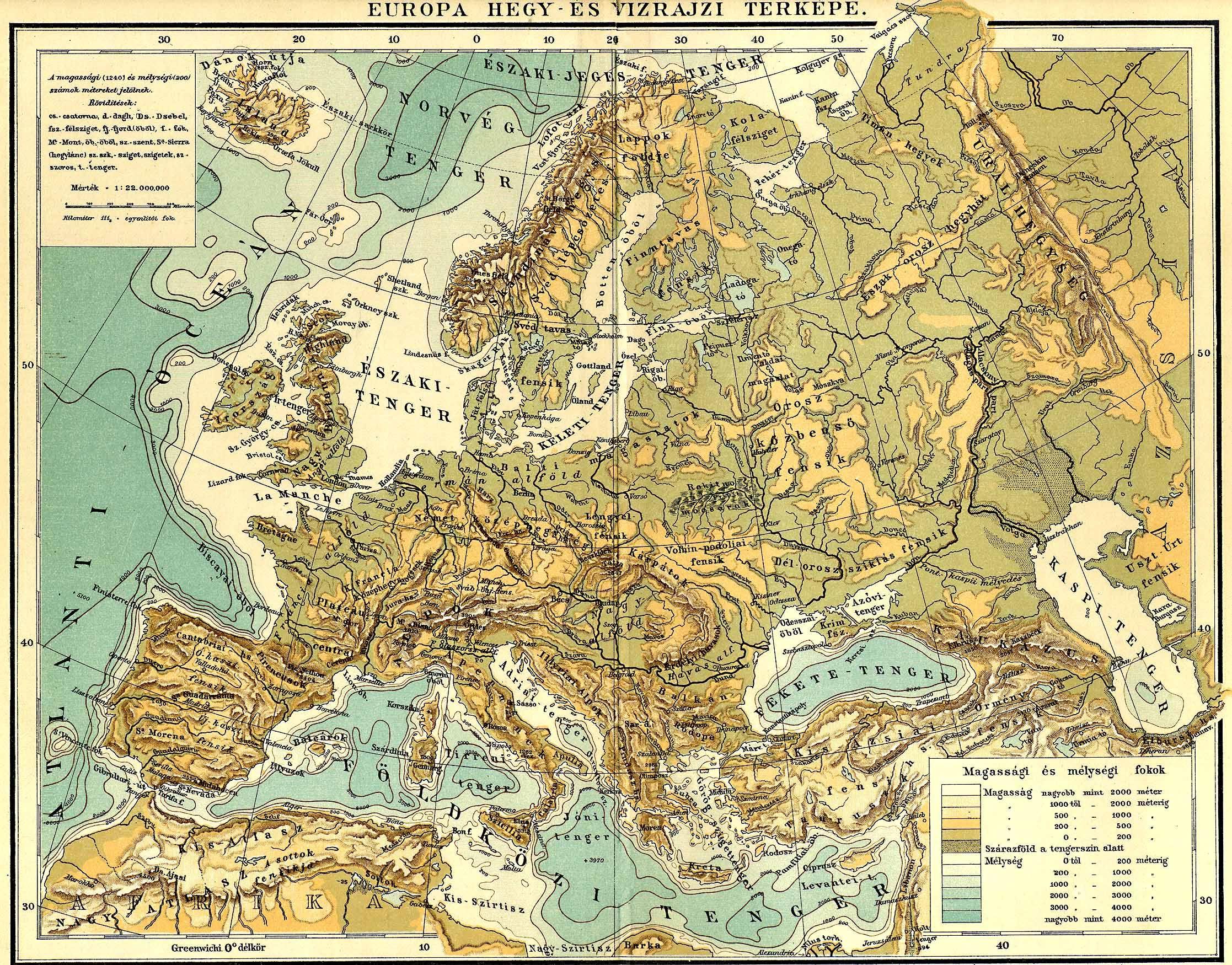 domborzati térkép európa Európa hegy  és vizrajzi térképe [Digitális Képarchívum   DKA 000501] domborzati térkép európa