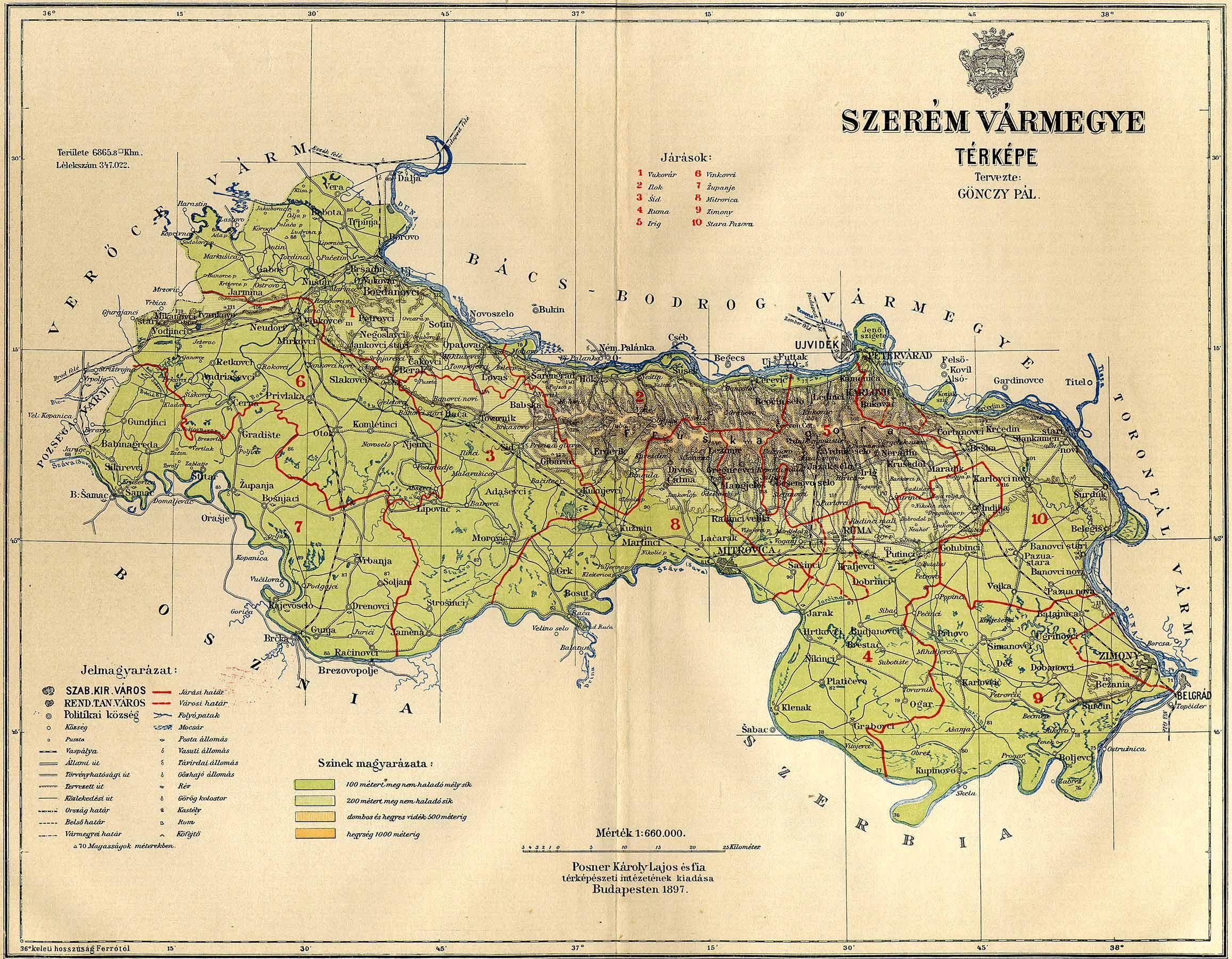 vármegyék térkép Szerém vármegye térképe [Digitális Képarchívum   DKA 000649]