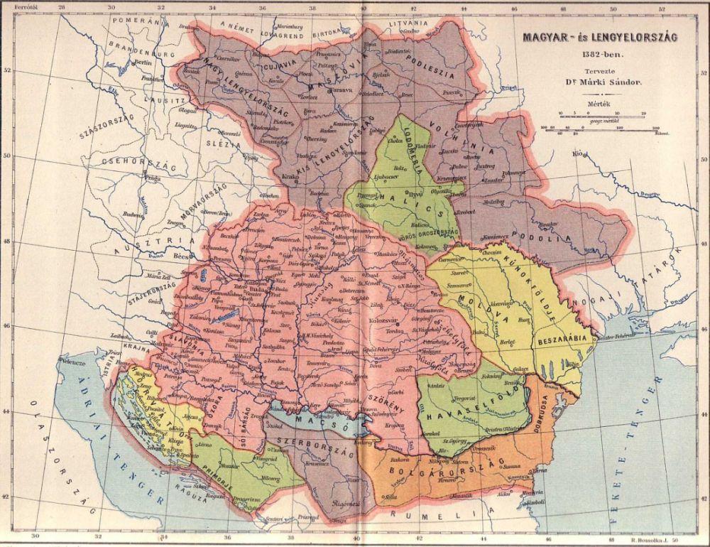 Magyar Es Lengyelorszag Terkepe 1382 Ben Digitalis Keparchivum