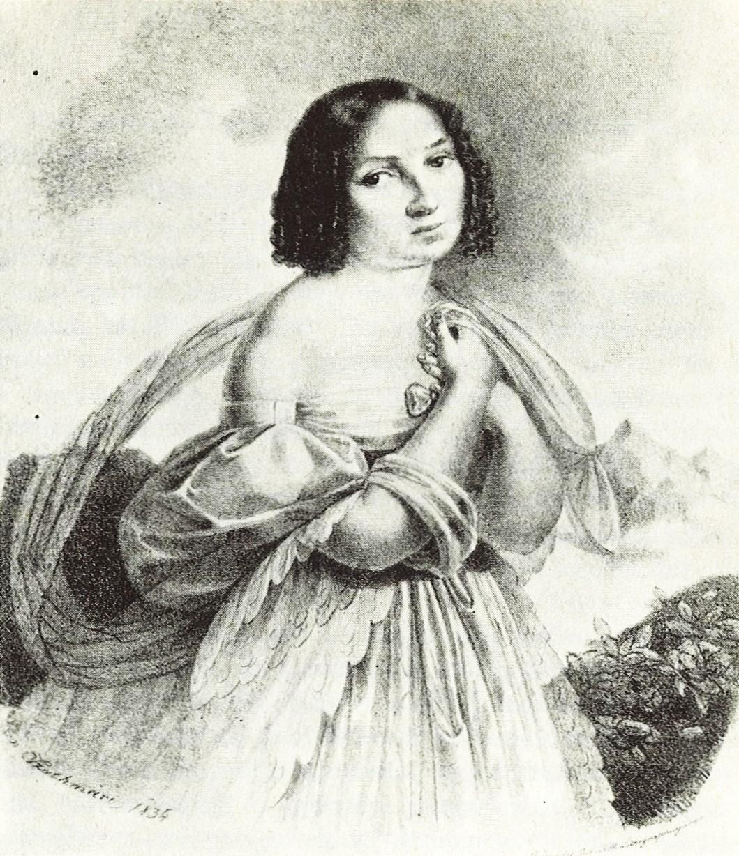 Déryné Széppataki Róza Az alpesi rózsa című színmű Liszli szerepében. Szathmáry Papp Károly litográfiája, 1834. Forrás: OSZK.