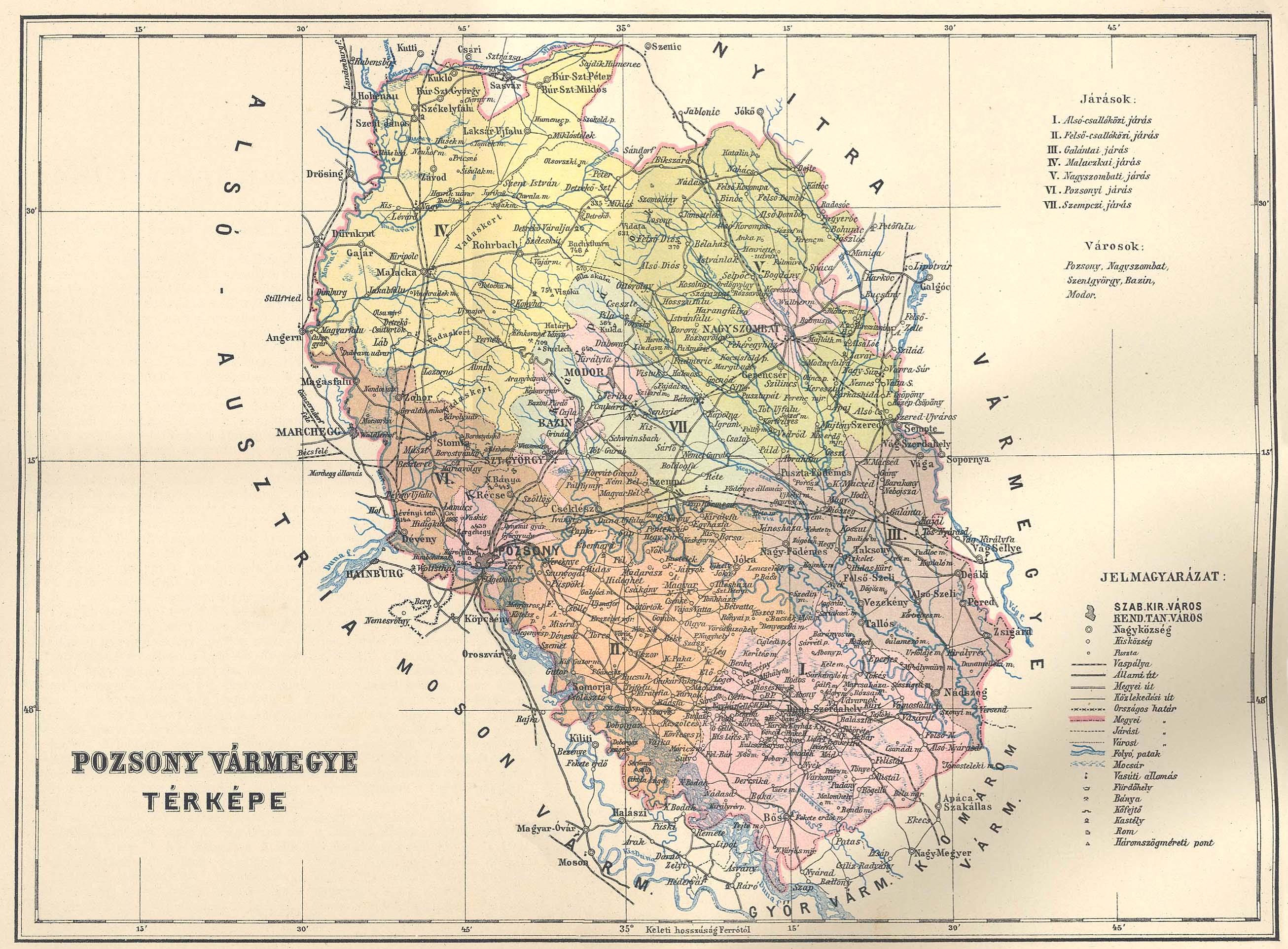 Pozsony Varmegye Terkepe Digitalis Keparchivum Dka 026615