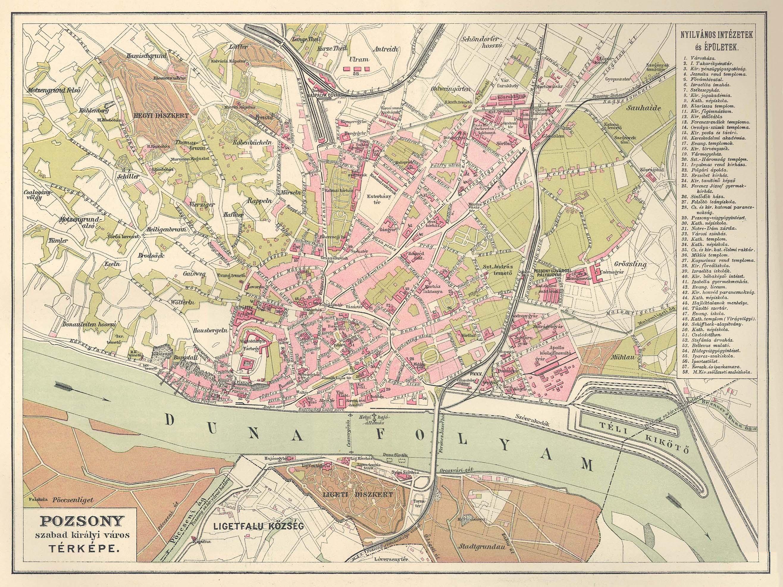 pozsony térkép Pozsony sz. kir. város térképe [Digitális Képarchívum   DKA 026616] pozsony térkép