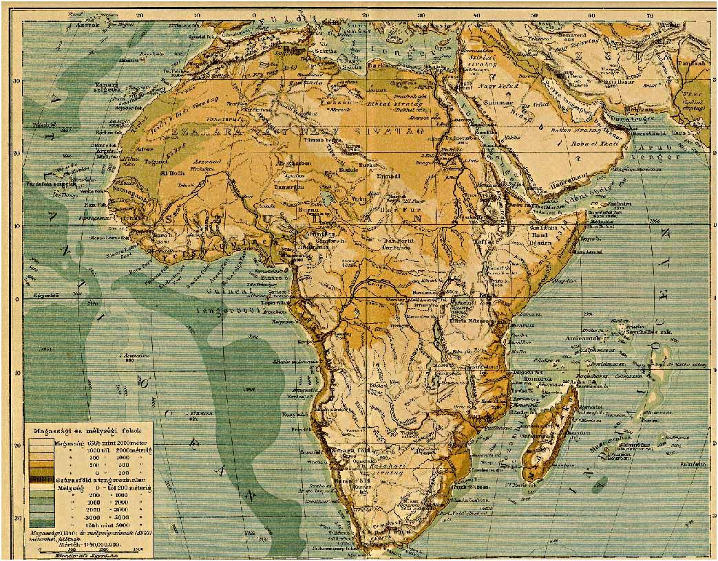 Afrika Hegy Es Vizrajzi Terkepe Digitalis Keparchivum Dka 000405