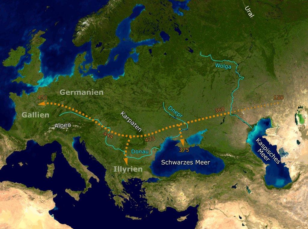 Hunnenwanderung [A hunok útja Európában] [Digitális Képarchívum -  DKA-009156]